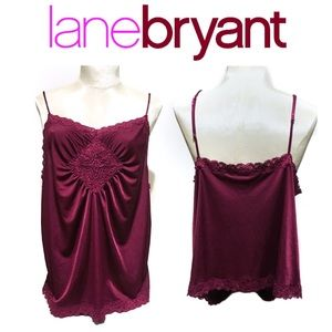 Lane Bryant Silky Lace Maroon Lingerie Top 14/16